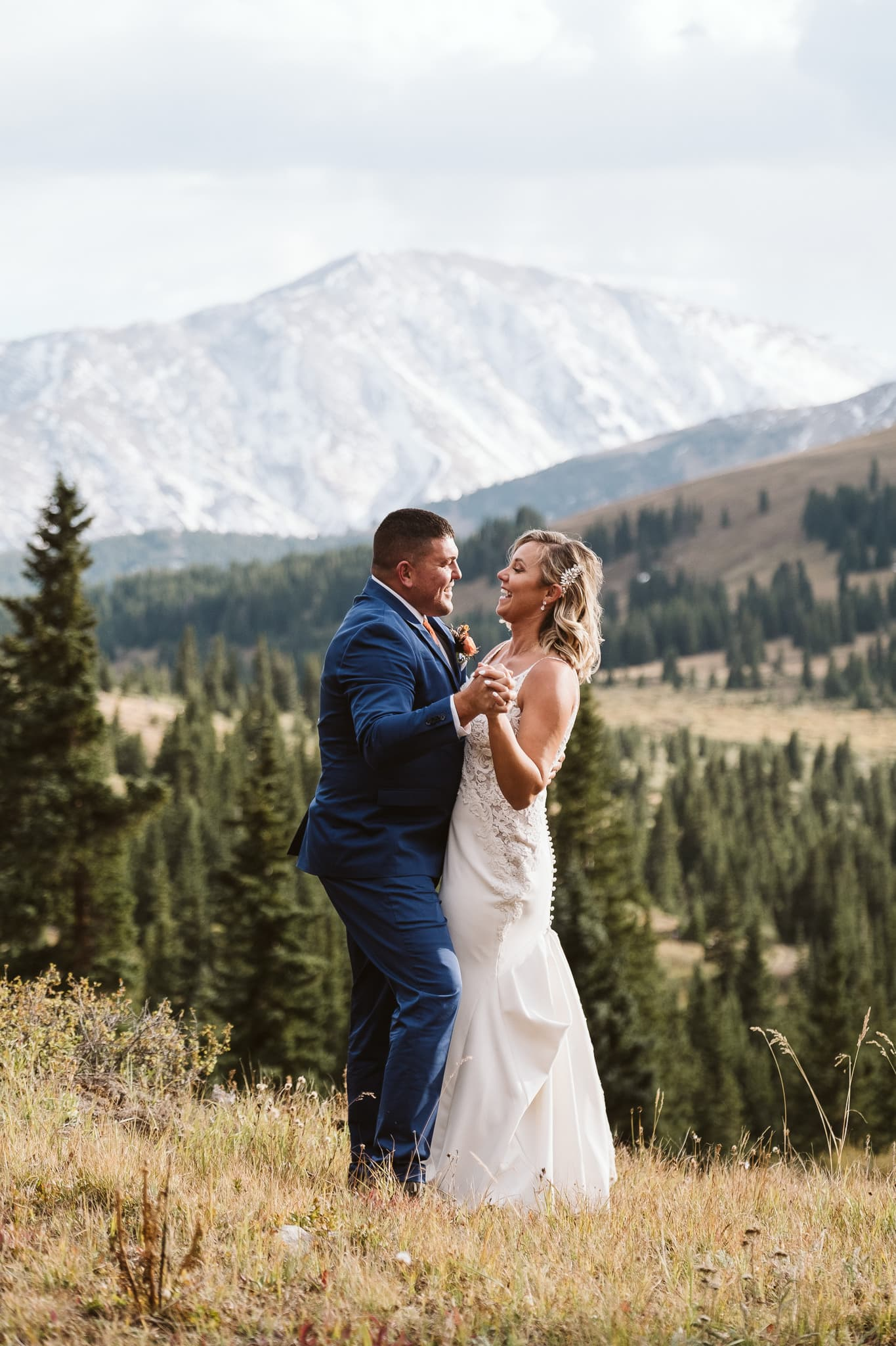 Bride and groom first dance in the mountains of Breckenridge