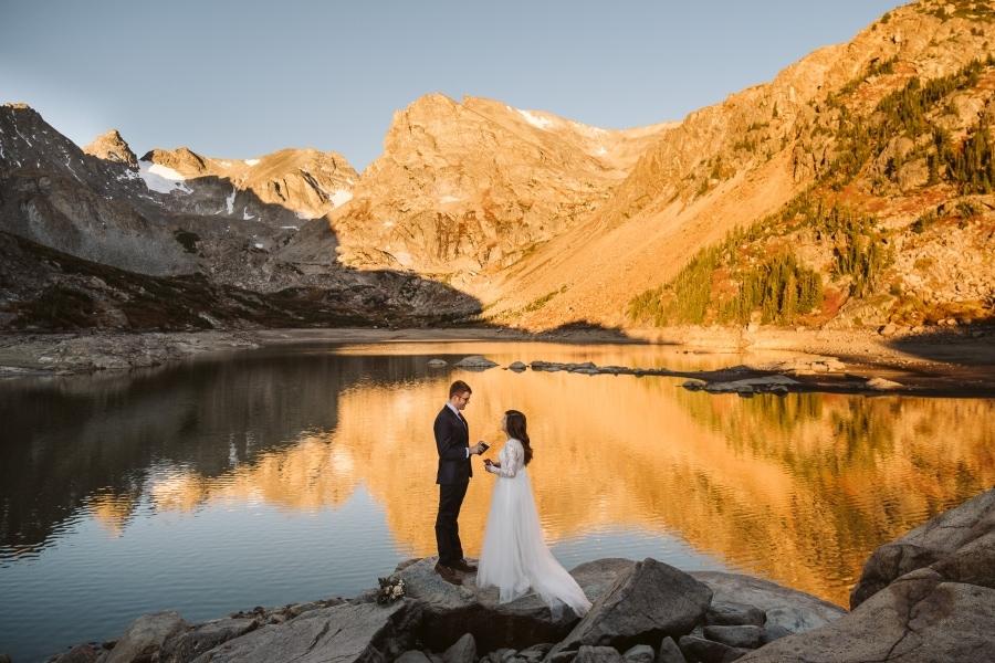Sunrise hiking elopement in Colorado