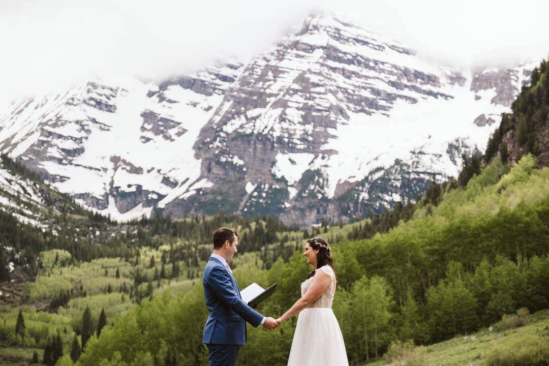 Elopement ceremony at Maroon Bells in Aspen, Colorado.