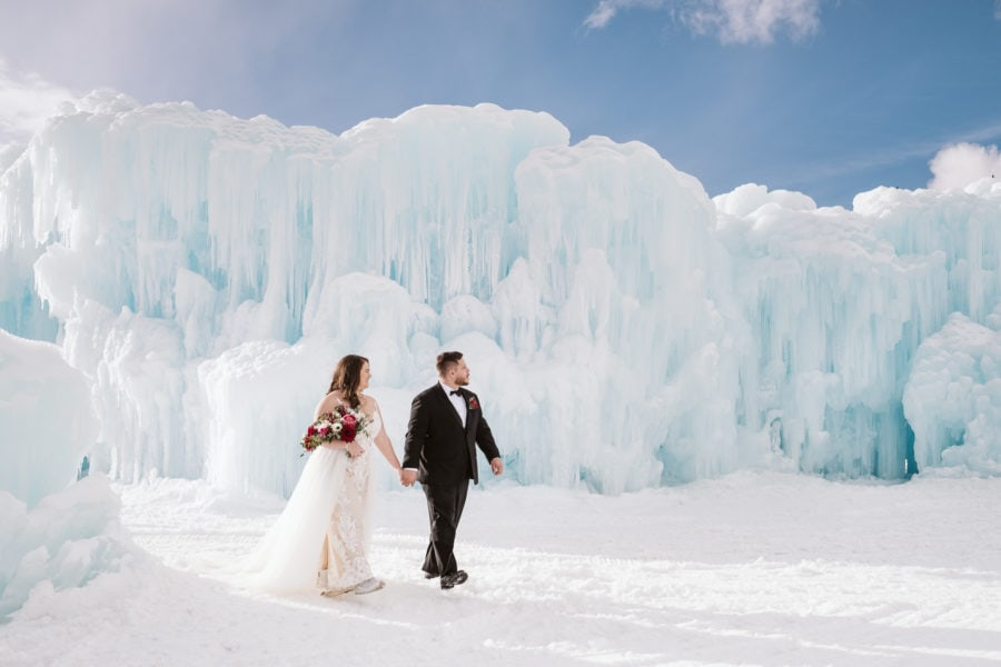 Winter Elopement at the Ice Castles in Colorado