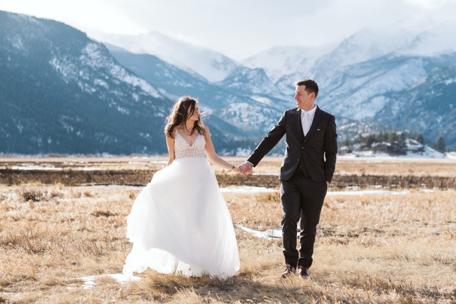 Winter elopement in Rocky Mountain National Park