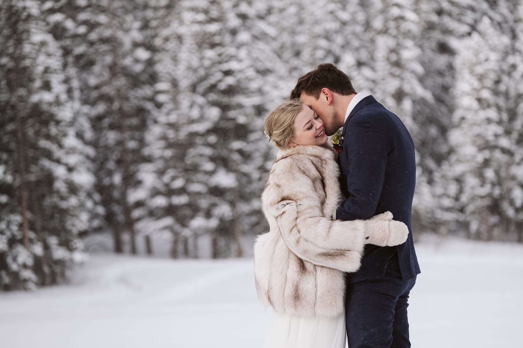 Bride and groom at winter elopement