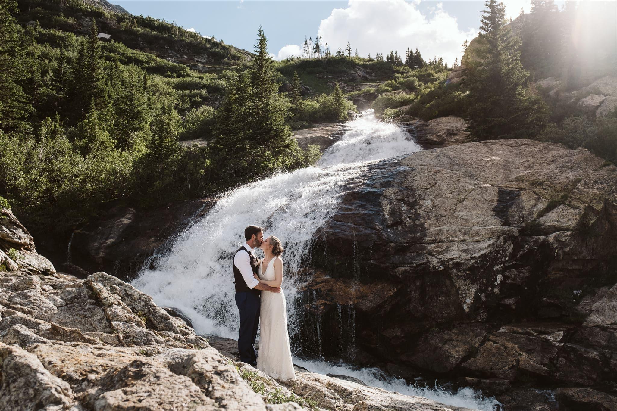 Waterfall elopement in Breckenridge, Colorado